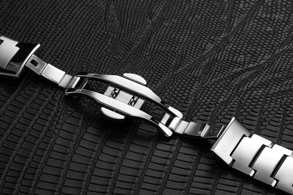Влюбленных Вольфрама Стали Часы Пара Моды Роскошь Бизнес Мужчины Женщины Полный Стали Кварцевые Часы Водонепроницаемый горный хрусталь часы