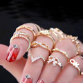 2016 New 1 Set 7 pcs Women s Rhinestone Bowknot Knuckle Midi Mid Finger Tip Stacking