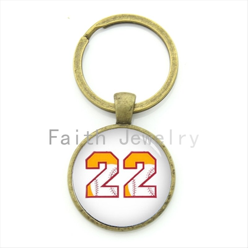 Number 22 baseball key chain charming bright color baseball pattern number 22 keychain men women sports jewelry gift KC473(China (Mainland))