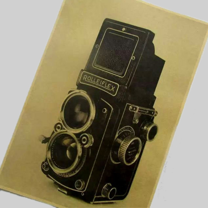 "wholesales pirce vintage kraft paper ""old age camera ""wall art poster pictures home decor for bathroom bar cafe FX-094(China (Mainland))"