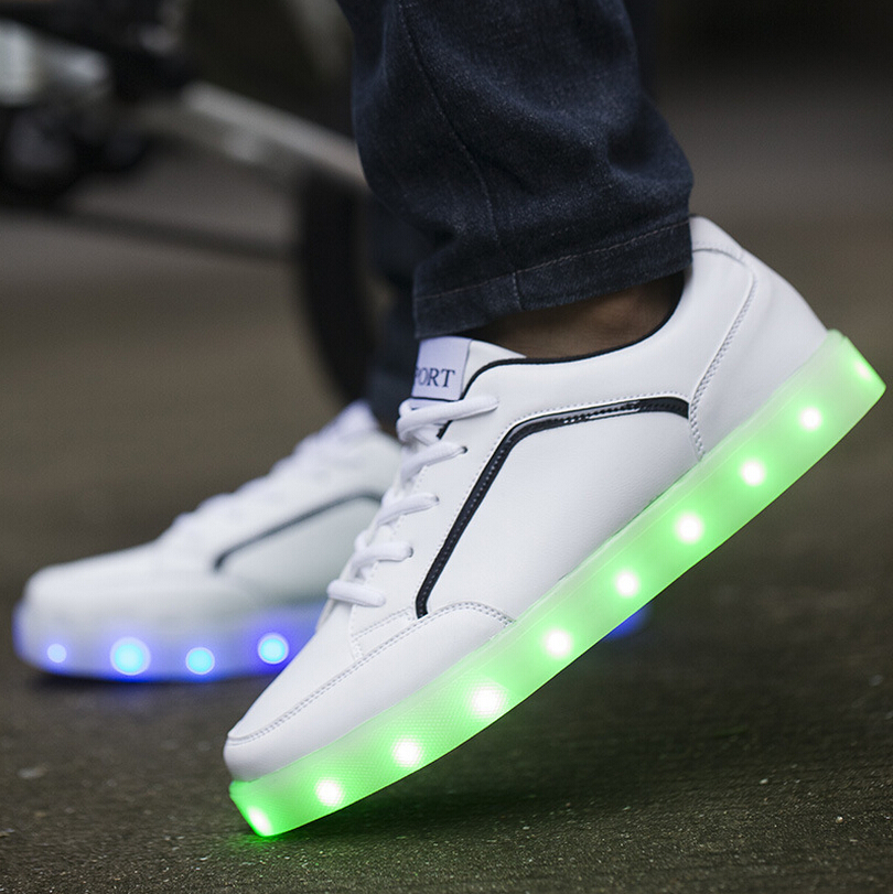 Women&men unisex Lovers led light shoes LED shoes USB rechargeable 7 color lights shoes for Halloween &Christmas party shows(China (Mainland))