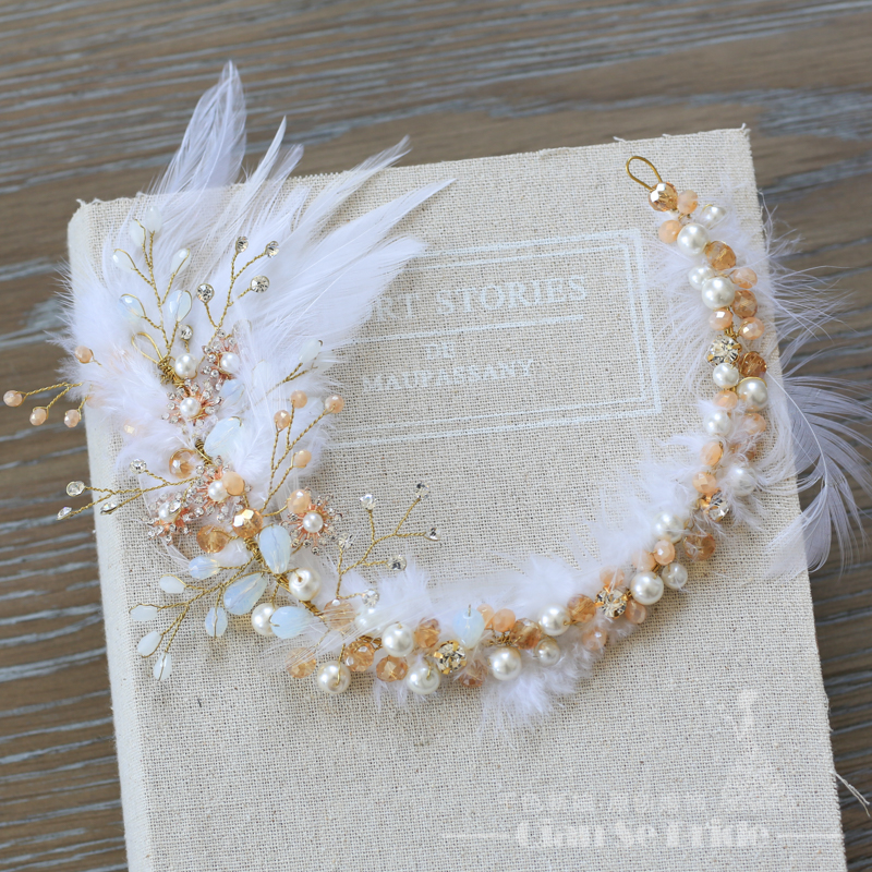 Gorgeous feather hairband crystal beads pearl jewelry headband bridal forehead handmade chain crown wedding accessories psh000 - Qianse Bride store