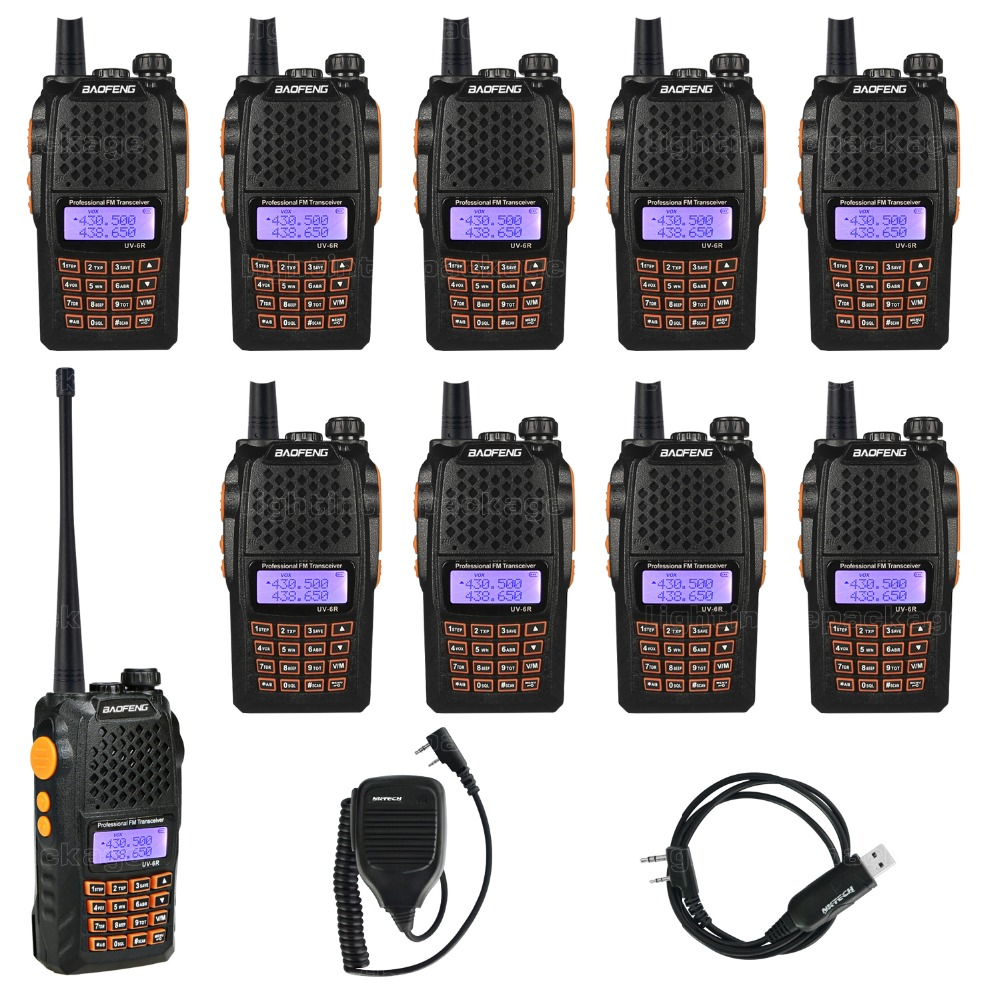 10pcs Baofeng Pofeng UV-6R Walkie talkie Radio vhf 136-174/400-520 Yaesu Transceiver Two-way Radio Walkie Talkie+Cable Mic(China (Mainland))