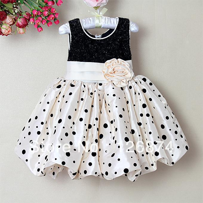 2014 Christmas Girl Princess Dress Black And Beige Infant Party Dress With Flower Baby Clothes(China (Mainland))