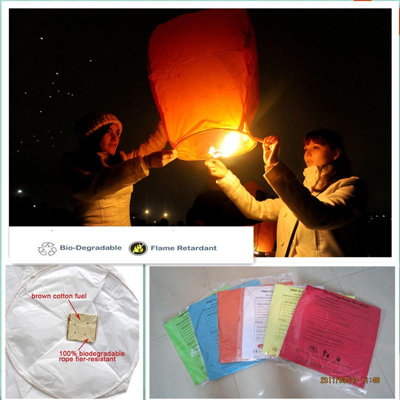 Diamond shape12pcs/lot Flame retardant paper flying sky lanterns biodegradable party/wedding decoration 8 colors free shipping(China (Mainland))