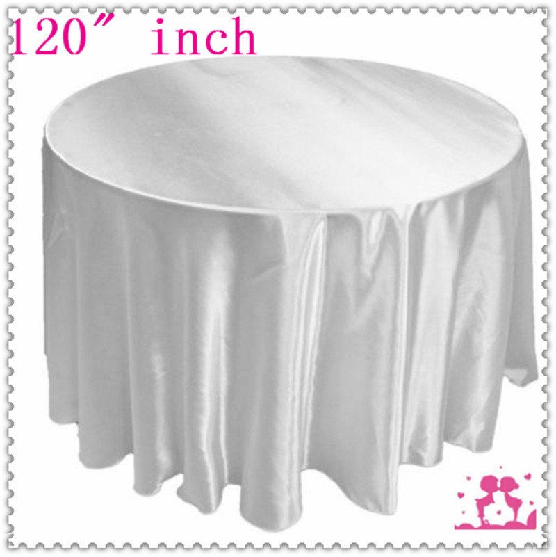 15pcs 120'' Round Satin Tablecloths for Weddings round tablecloths White free shipping(China (Mainland))