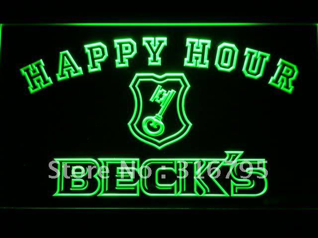 609-g Beck's Beer Happy Hour Bar LED Neon Light Sign Wholesale Dropshipping(China (Mainland))