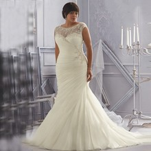 Discount Opulent Ivory/White with Crystal Beading and Appliques Organza Mermaid Plus Size Wedding Dresses 2015 with Sleeves(China (Mainland))