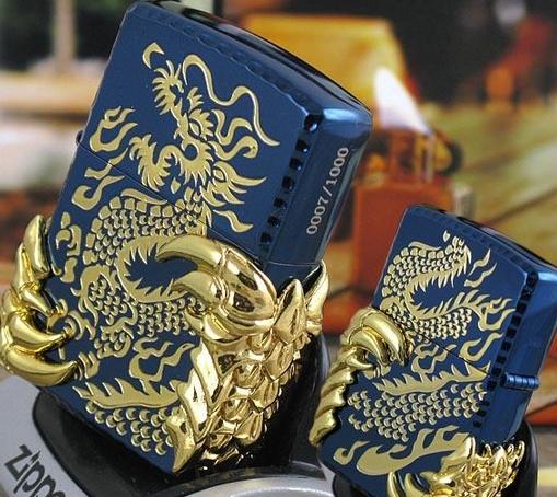 wholesale 3pcs/lot Copy high imitation Man brand Lighter both sides Carving blue ice double dragon 2 Alondra(China (Mainland))