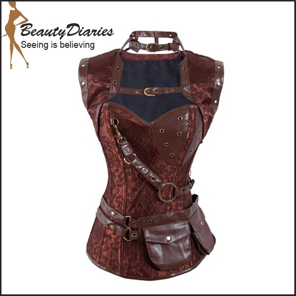 New 2015 Sexy Steampunk Corset Steel Boned Waist Training Corsets Gray Black Brown Steampunk Costuming Retro Brocade Corset(China (Mainland))