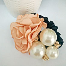 Ellegant Ribbon Flowers Summer Style Simulated Pearls Headband Decorating Alloy Elastic Hair Bands for Girls Hair Accessories(China (Mainland))