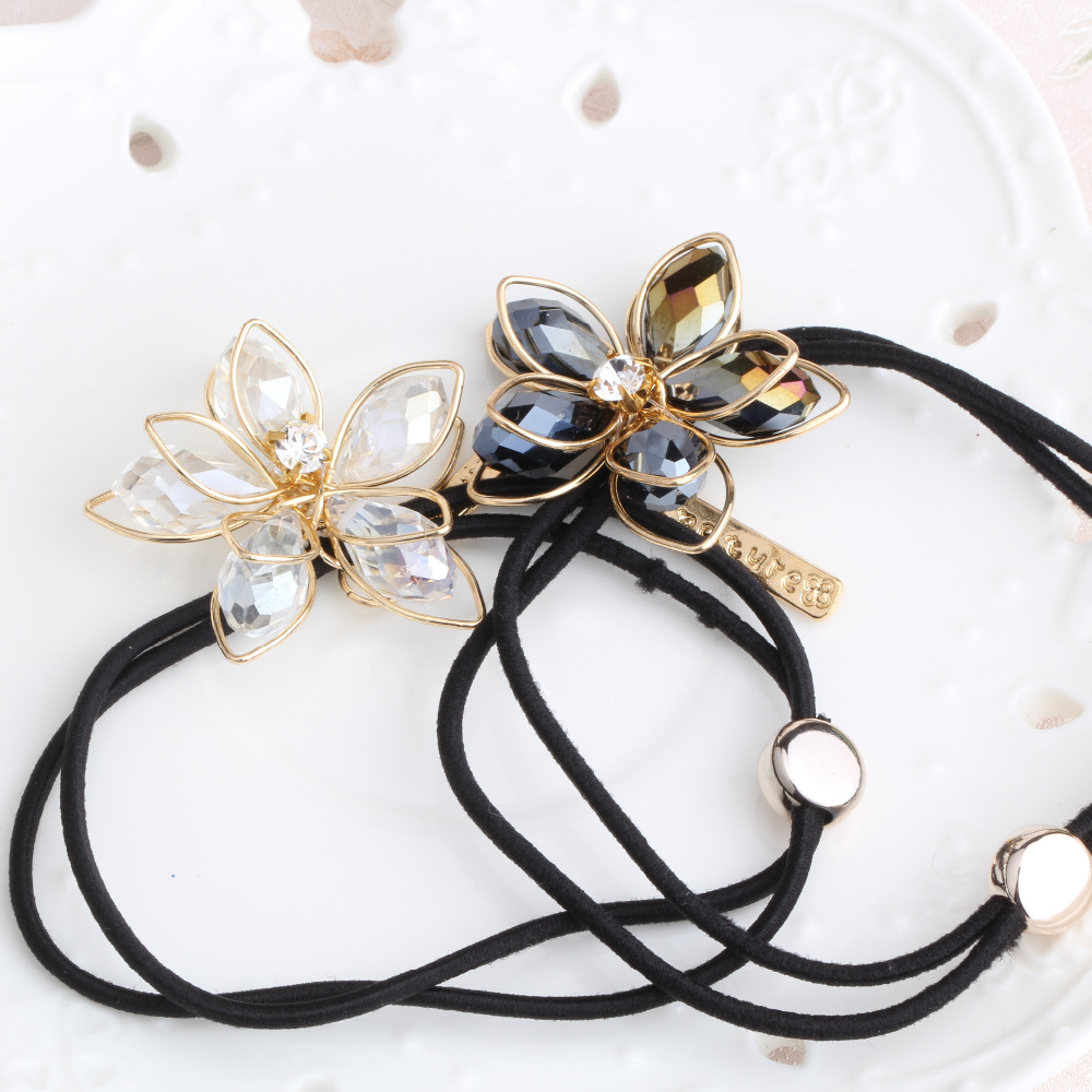 1PC New High Quality Women Hair Accessories Elastic Ponytail Hair Tolder Rhinestone Hair Tie Scrunchies Flower Elastic Hair Band(China (Mainland))