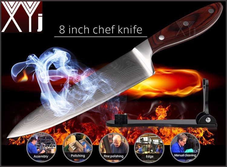 "Buy 2016 LD 8""inch chef knives high quality fashion Japanese VG10 Damascus steel kitchen knife with Micarta handle Free shipping cheap"