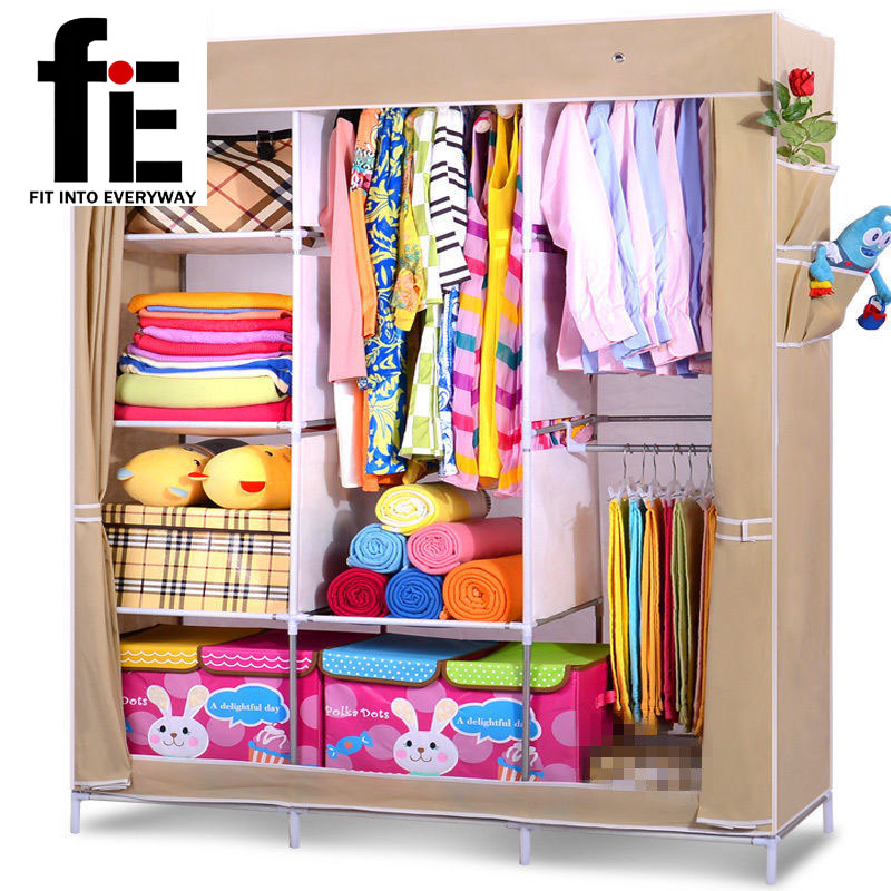 bedroom folding non woven fabric wardrobe clothes closet storage cabinet portable lockers hanging(China (Mainland))