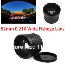 tracking number 52mm 0.21X Wide Fisheye Lens + Bag for Canon Nikon d90 d7000 600D 550D 500D 60D 1100D DSLR(China (Mainland))