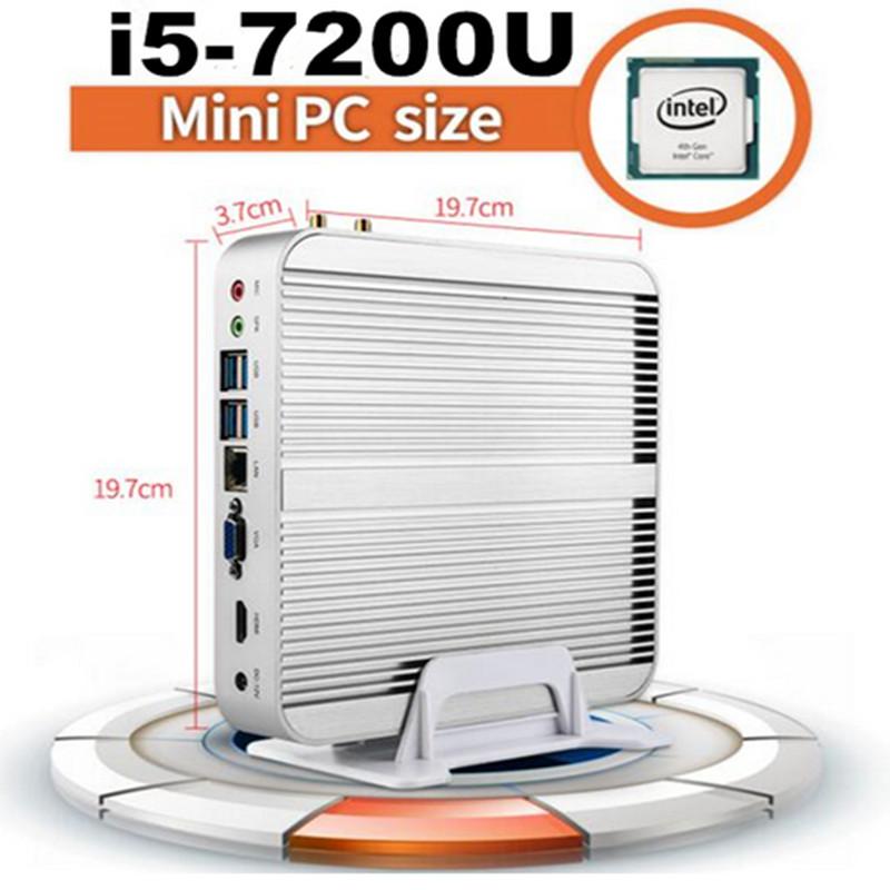 7GEN Fanless Mini Pc Intel CPU Core I5 7200U Barebone 4GB 8GB 16GB RAM +SSD HDD Mini Pc Windows 10 Desktop computer VGA HDMI(China (Mainland))