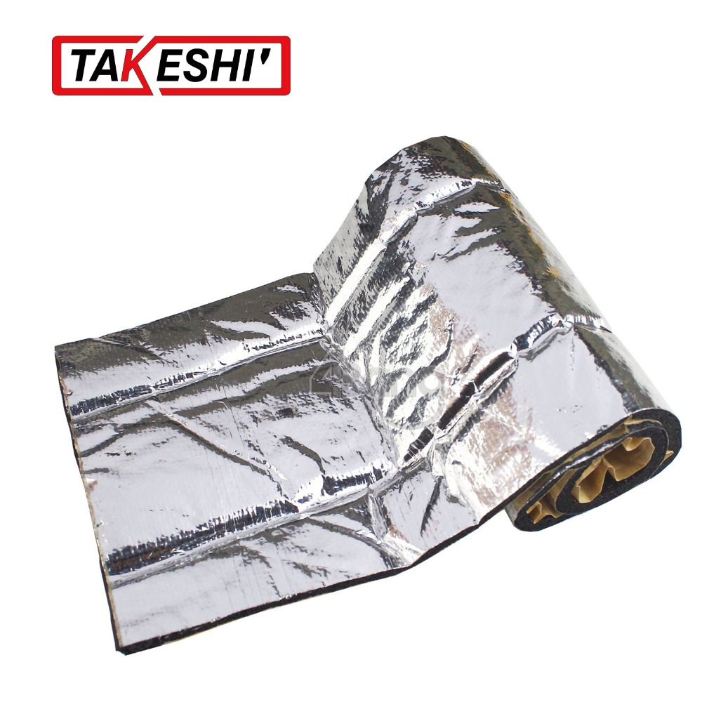 "10""x40"" 25cmx100cm CAR TRUCK FOIL SOUND HEAT Control Shield INSULATION Exhaust Deadening Deadener Muffler BLANKET MAT PAD(China (Mainland))"