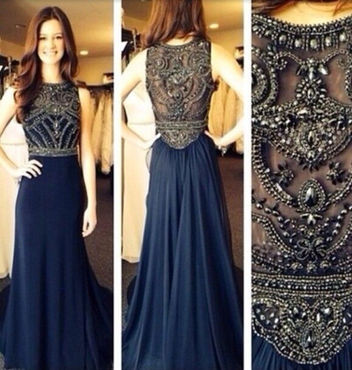 2015 Spring Inexpensive Haute Couture A line Navy Crystal Heavy Beaded Chiffon Long Girls Evening Party Dresses Gowns(China (Mainland))