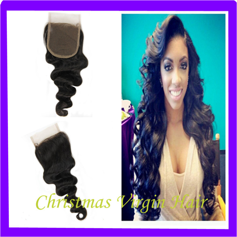 Qhp Weave Beauty 6A Loose Wave Lace Closure Cambodian Human Virgin, 4x4 Laced Human Closure, Brazilian Human Body Wavy Lace KING(China (Mainland))