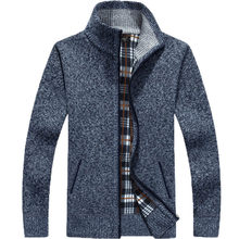 2019 새로운 스웨터 남자 가을 겨울 스웨터 코트 남성 두꺼운 가짜 모피 양모 망 스웨터 재킷 캐주얼 지퍼 니트 크기 M-3XL(China)