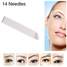50 PCS 14Pin Permanent Makeup Manual Eyebrow Tattoo Needles Blade For 3D Embroidery Microblading Tattoo Pen Machine(China (Mainland))