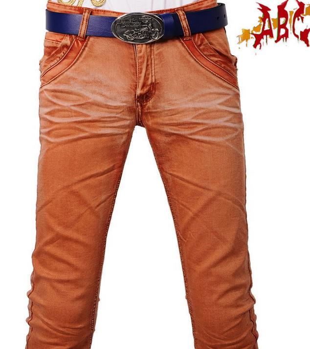 Фотография Summer orange thin england straight mens jeans haren pant slim man trousers personalized fashion designer singer dance street