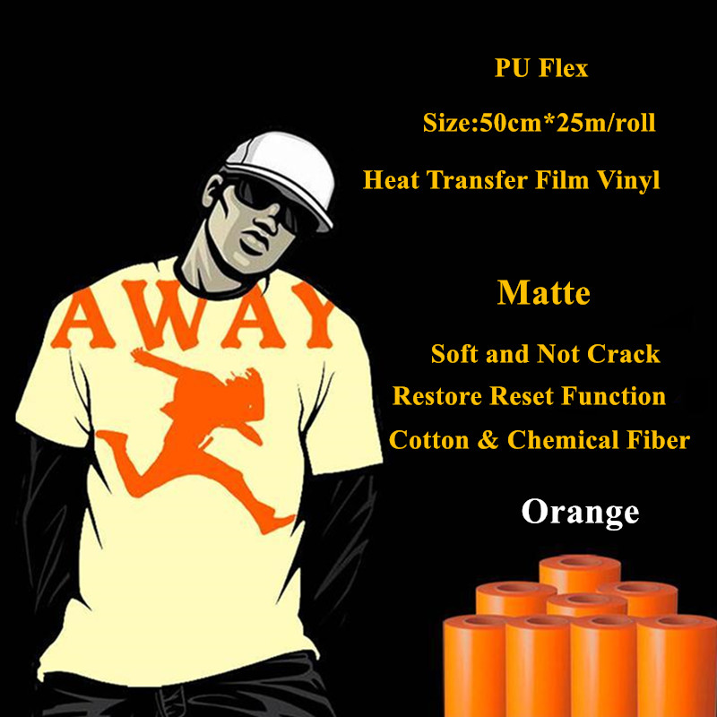 PU Flex heat transfer vinyl for clothing orange color matte pu heat press vinyl heat transfer film vinyl plotter 50cm*25m/roll(China (Mainland))