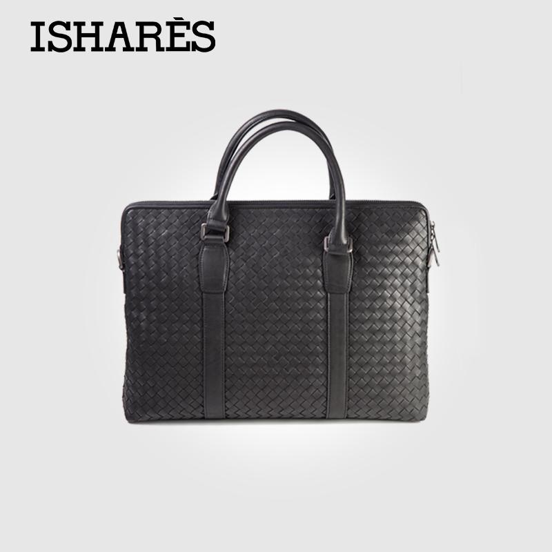 ISHARES Hot genuine leather male casual weave briefcase computer bag men messenger cowhide leather handbagshoulder bag IS5010<br><br>Aliexpress