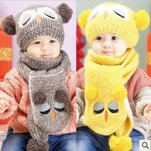 cap hats for children Portable Popular Set Winter Baby Hat Boy Girl Kids Warm Hat Cap + Scarf 1–5 Years Beanies
