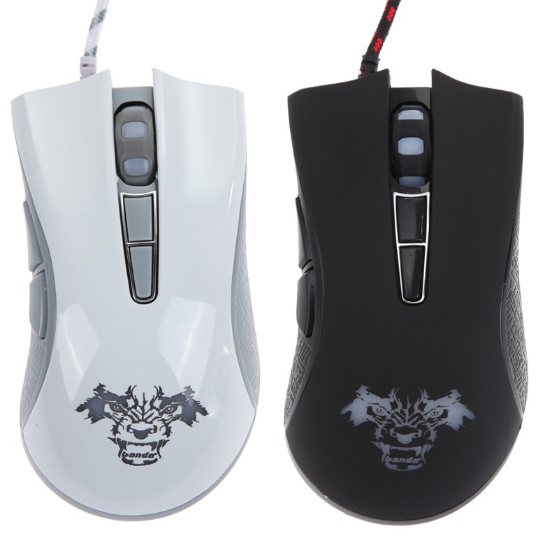 New White 4000 DPI 7 Button LED Optical USB Wired Gaming Mouse For PC Laptop NI5L