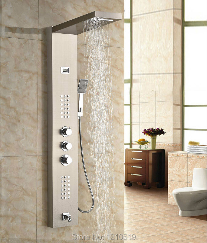 Newly Wall Mount Shower Panel Shower Column Stainless Steel Brushed Shower Faucet w/ Hand Shower Message Jets(China (Mainland))