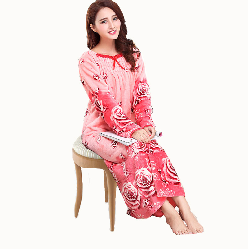 Princess Women Flannel Nightgown Rose Print Nightdress pijama Ladies coral fleece Sleepwear Long pink princess nightwear<br><br>Aliexpress