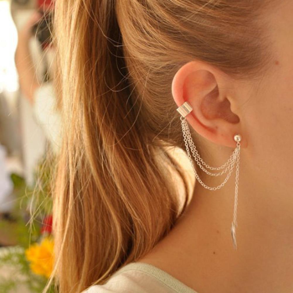Women Girl Stylish Punk Rock Leaf Chain Tassel Dangle Ear Cuff Wrap Earring Silver Golden Earrings Jewelry - I Handmade store