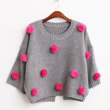 autumn winter women christmas sweater plush ball knitwear,fashion bawting oversize women sweaters and pullovers knitted jumpers(China (Mainland))