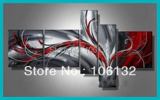 Framed 5 Panel Large High End Black White and Red Abstract Painting Canvas Picture Wall Art Home Decoration A0173(China (Mainland))