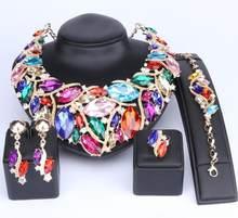 OUHE Mode Indischen Schmuck Böhmen Kristall Halskette Sets Brautschmuck Brides Party Hochzeit Zubehör Dekoration(China)