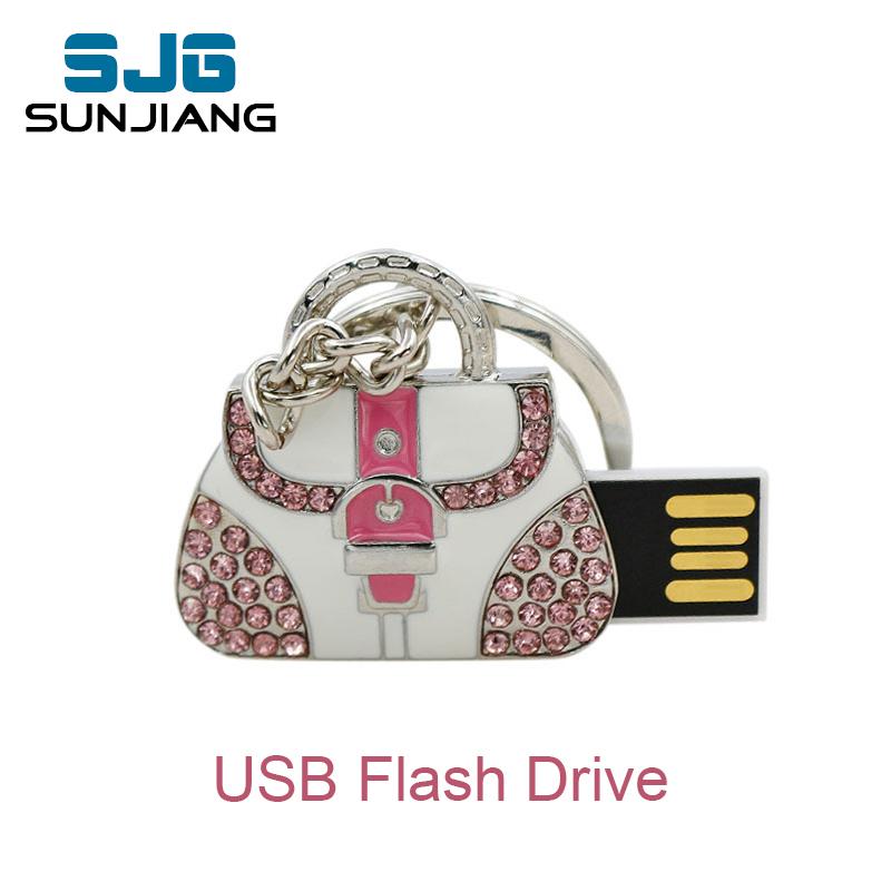 real capacity pen drive 16GB metal bag USB Flash Drive Custom Jewelry & Crystal Lady Bag pendrive 8GB 32GB U disk 64gb gifts(China (Mainland))