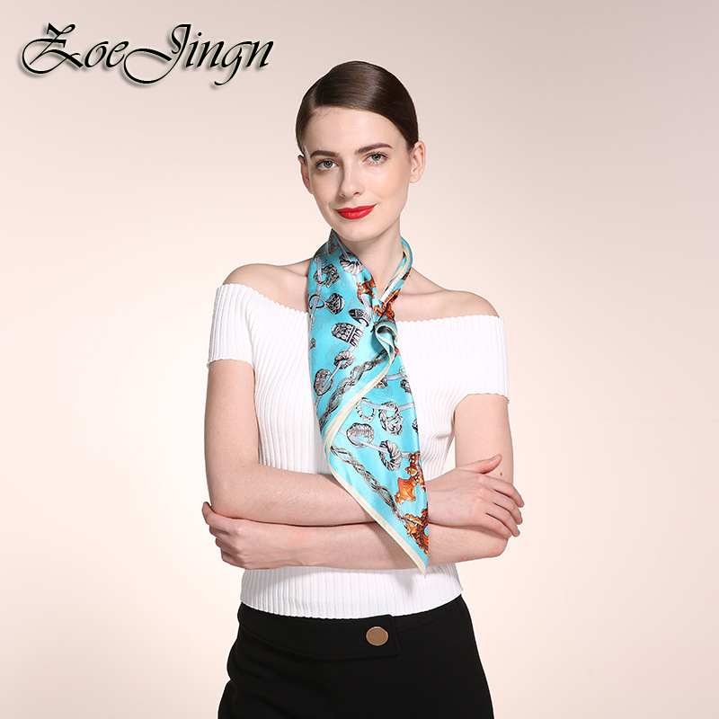 New Jewelry Rings Print 53*53CM Female Square Scarfs Fashionable 100% Silk Brand Twill Tie bag Handle Scarves Summer And Spring(China (Mainland))