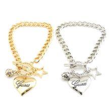 Charm Women Gold Silver Plated Pentagram Stars RhineStone Crystal Heart Bracelet(China (Mainland))