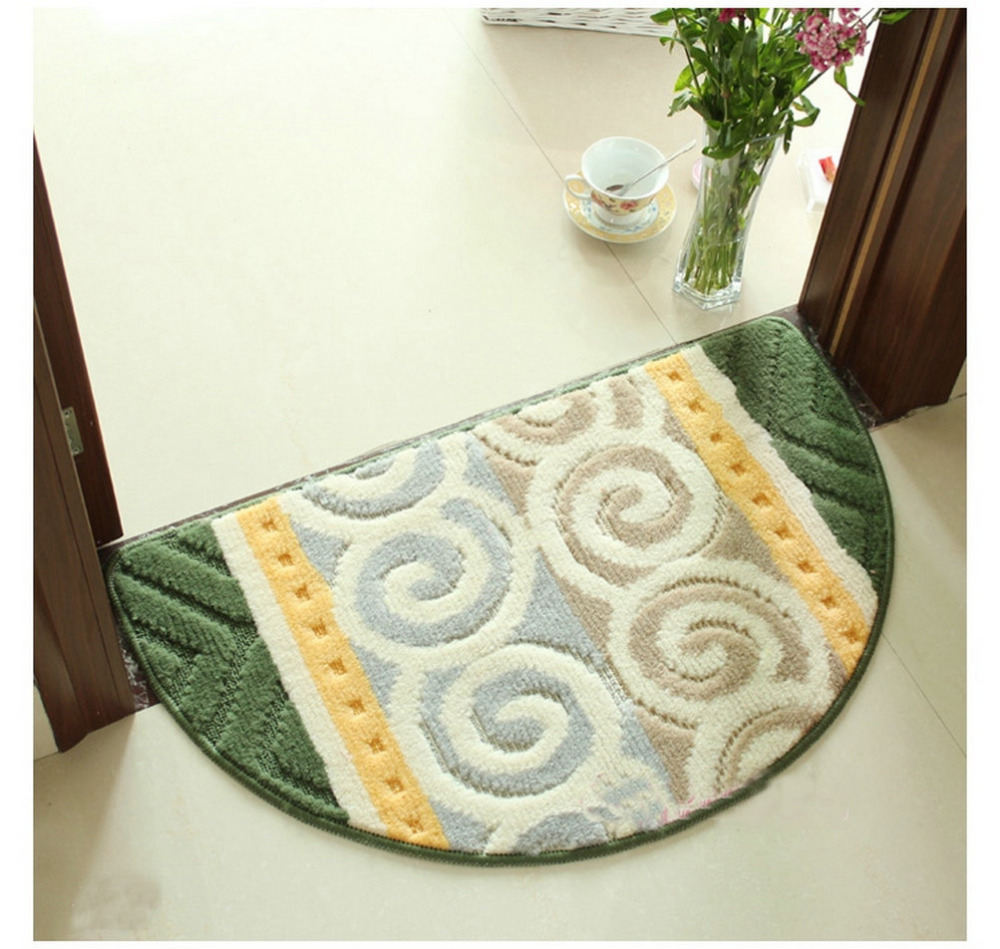Luxbon Free Shipping Half-round Shaped Non-slip Water Absorption Green Endless Bathroom Floor Kitchen Soft Mats Rugs Carpets Pad(China (Mainland))