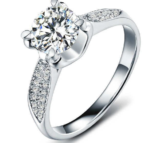 Luxury 1Ct Synthetic Diamond Engagement Ring Women 925 Sterling Silver Wedding Fantastic Gold Plated Gift Valentine - sara qu's store