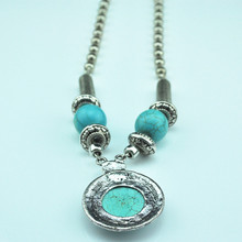 N35 Green Turquoise Stone Natural Stone Necklace Pendant Jewlery Women Vintage Look Tibet Alloy free shipping