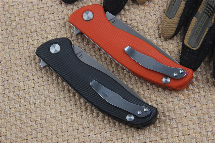 Buy New two color black and orange 95 D2 blade  G10 handle tactical folding knife hunting camping outdoors knife EDC hand tools cheap