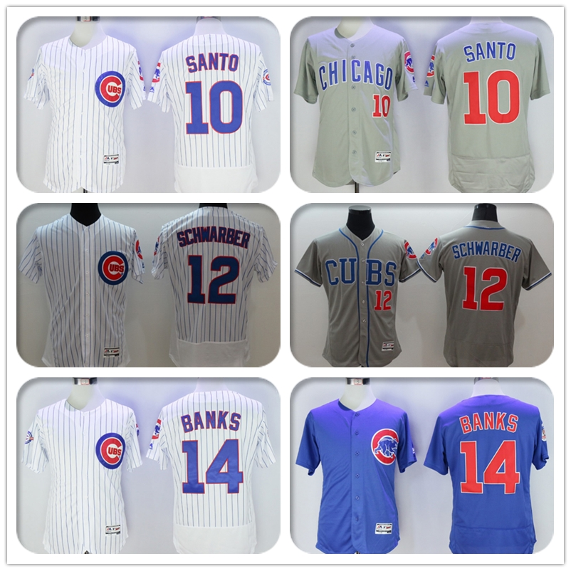 2016 New Fabric Mens Flexbase #10 Ron Santo #12 Kyle Schwarber #14 Ernie Banks Jersey Color Gray Blue White Throwback Jerseys(China (Mainland))