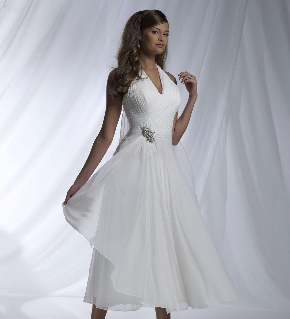 2015 Summer Sexy Halter Beach Wedding Dresses Chiffon Neck