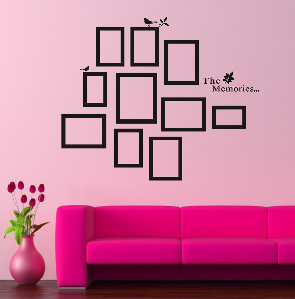 Diy photo frame black removable vinyl wall stickers for Living room quote stickers