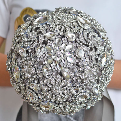 Cost Of Wedding Flowers 2017 : Gray ivory wedding bouquets luxurious crystal silk