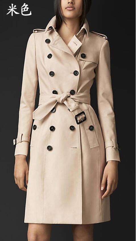 2016 spring coats khaki England Double-breasted trench coat for women windbreaker female trench coat free shipping plus size 5XL
