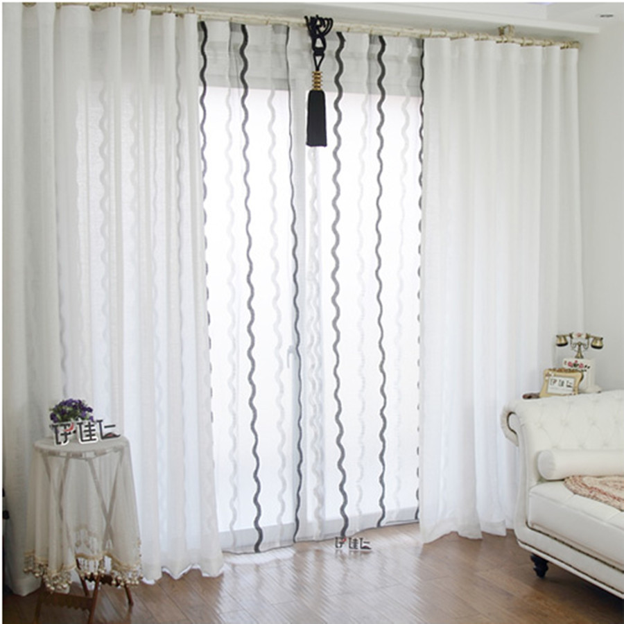 Fashion Linen Curtain Bedroom Living Room Design Blackout Curtains With Tulle