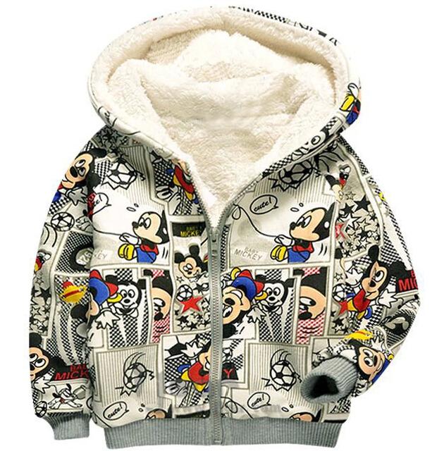 Осенью и зимой дети толстовки с длинным рукавом густой шерсти минни толстовка на молнии детей мальчиков и девочек случайные теплый верхняя одежда